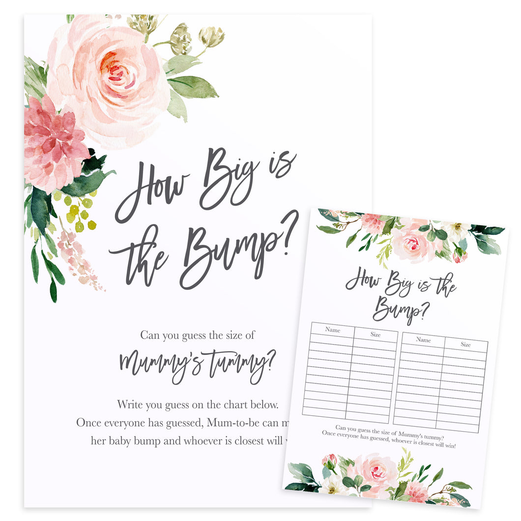Blush Rose Baby Shower Game, How Big is The Bump Game, Blush Flowers, Blush Ivory