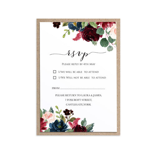 Burgundy, Navy & Blush Floral RSVP Cards, Response Cards, Burgundy Navy Invite, Rustic Floral, Blush Wedding Invite, Boho Floral, 10 Pack