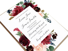 Burgundy, Navy & Blush Floral Wedding Invitations, Floral Frame, Burgundy Navy Invite, Rustic Floral, Blush Wedding Invite, Boho Floral Wedding Invite, 10 Pack