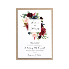 Burgundy, Navy & Blush Floral Wedding Invitations, Square Wreath, Burgundy Navy Invite, Rustic Floral, Blush Wedding Invite, Boho Floral Wedding Invite, 10 Pack