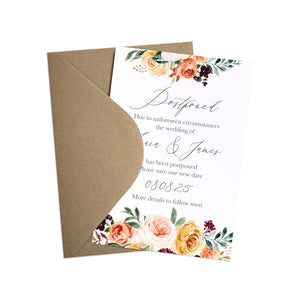 Autumn Floral Change of Plans Cards, Postponed Wedding, Change The Date, Autumn Wedding, Fall Wedding, Burgundy & Orange, Peach Wedding, 10 Pack