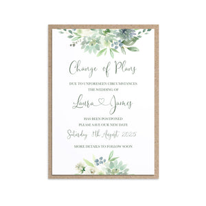 Succulent Floral Change of Plans Cards, Postponed Wedding, Change The Date, Botanical Wedding, Mint Wedding, Eucalyptus, 10 Pack