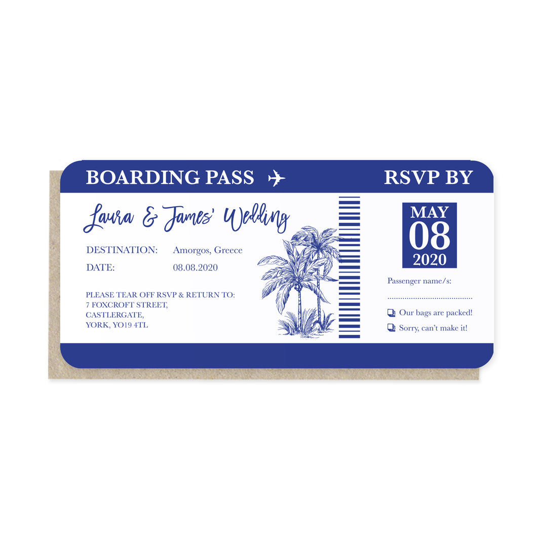 Palm Tree Passport Wedding Invitations, Boarding Pass RSVP Card, Wedding Abroad, Destination Wedding, Travel Wedding, Plane Ticket Invite, 10 Pack