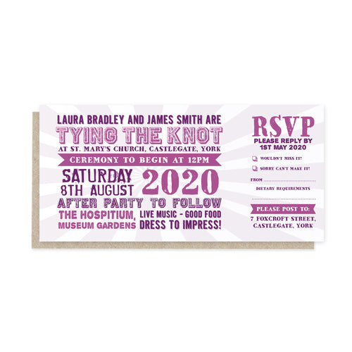 Festival Ticket Wedding Invitations, Festival Wedding, Festival Invitation, Concert Wedding, Festival Ticket, Wedfest, 10 Pack