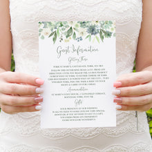Succulent Floral Guest Information Cards, Detail Cards, Botanical Wedding, Mint Wedding, Eucalyptus, 10 Pack