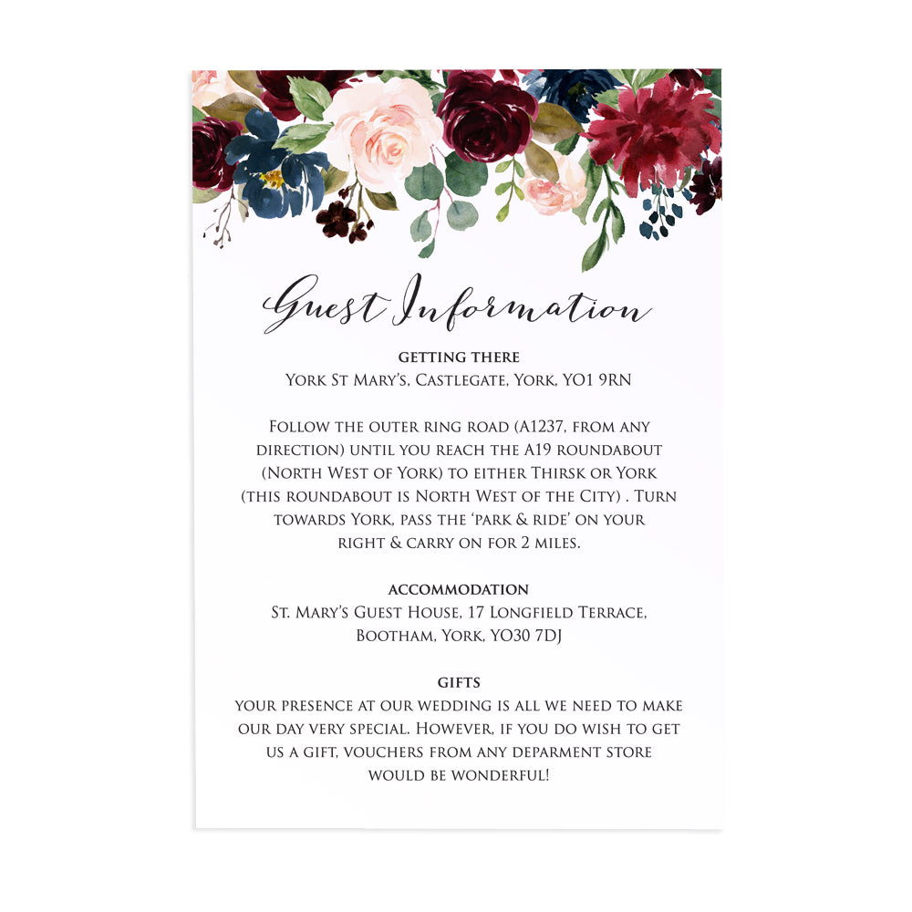 Burgundy, Navy & Blush Floral Guest Information Cards, Detail Cards, Burgundy Navy Invite, Rustic Floral, Blush Wedding Invite, Boho Floral, 10 Pack