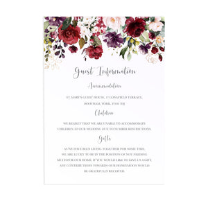 Red and Gold Guest Information Cards, Detail Cards, Ruby Red, Burgundy, Blush, Red Floral, 10 Pack