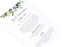 Botanical Garden Guest Information Cards, Detail Cards, Watercolour Foliage, Greenery, Eucalyptus Invites, Green Wreath, Botanical Wedding, 10 Pack