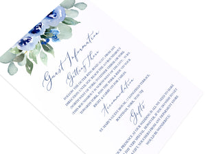 Navy Rose Guest Information Cards, Detail Cards, Watercolour roses, Navy Wedding, Blue Wedding, 10 Pack