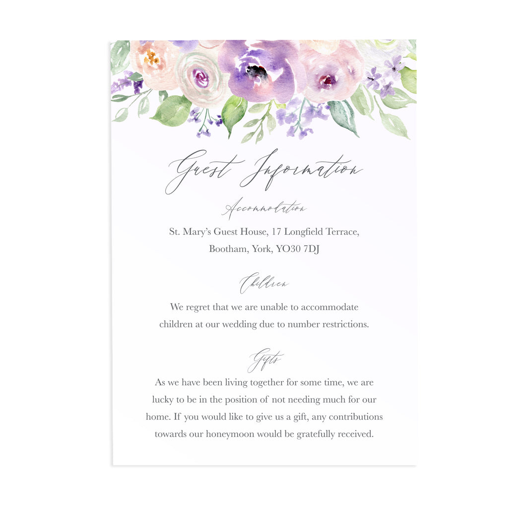 Lilac and Blush Guest Information Cards, Detail Cards, Purple Wedding, Lilac Wedding, Blush, 10 Pack