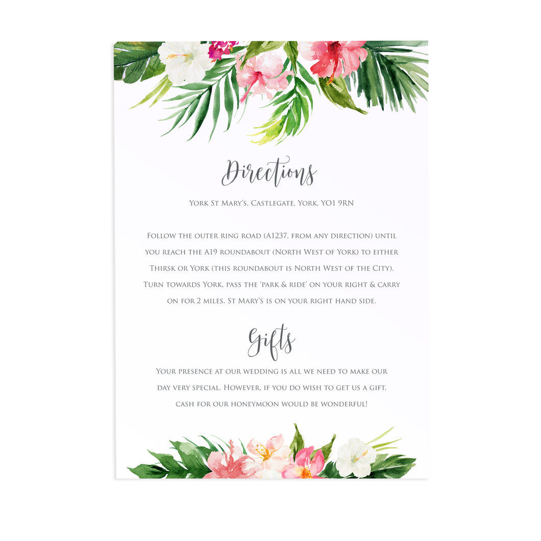 Tropical Floral Guest Information Cards, Detail Cards, Beach Wedding, Tropical Wedding, 10 Pack