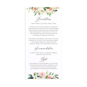 Spring Blush Guest Information Cards, Detail Cards, Slim, Blush Wedding, Pink Flowers, Blush Ivory, Botanical, Modern Invitations, 10 Pack