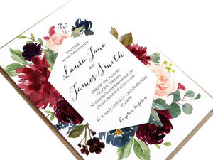 Burgundy, Navy & Blush Floral Wedding Invitations, Geometric, Burgundy Navy Invite, Rustic Floral, Blush Wedding Invite, Boho Floral Wedding Invite, 10 Pack