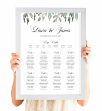 Elegant Geometric Table Plan, Seating Plan, Greenery Wedding, Leaf Wedding, Foliage, A2 Size