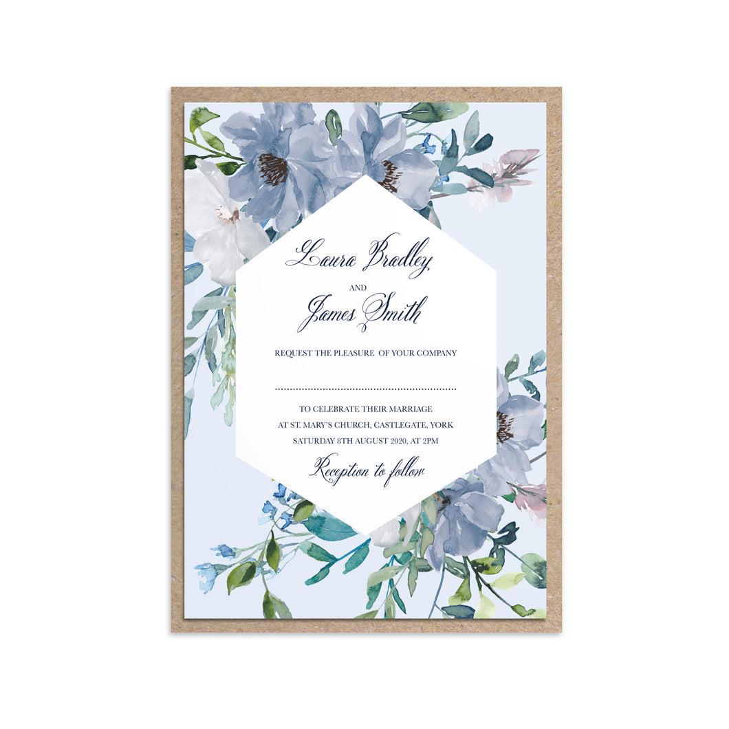 Dusky Blue Floral Wedding Invitations, Geometric Wreath, Blue Floral, Blue Wedding, Navy, Baby Blue, 10 Pack