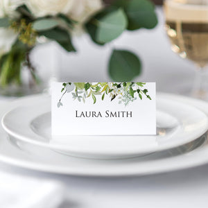 Greenery Place Cards, Watercolour Foliage, Greenery, Eucalyptus Invites, Green Wreath, Botanical Wedding, Personalised Place Cards, Place Settings, 20 Pack