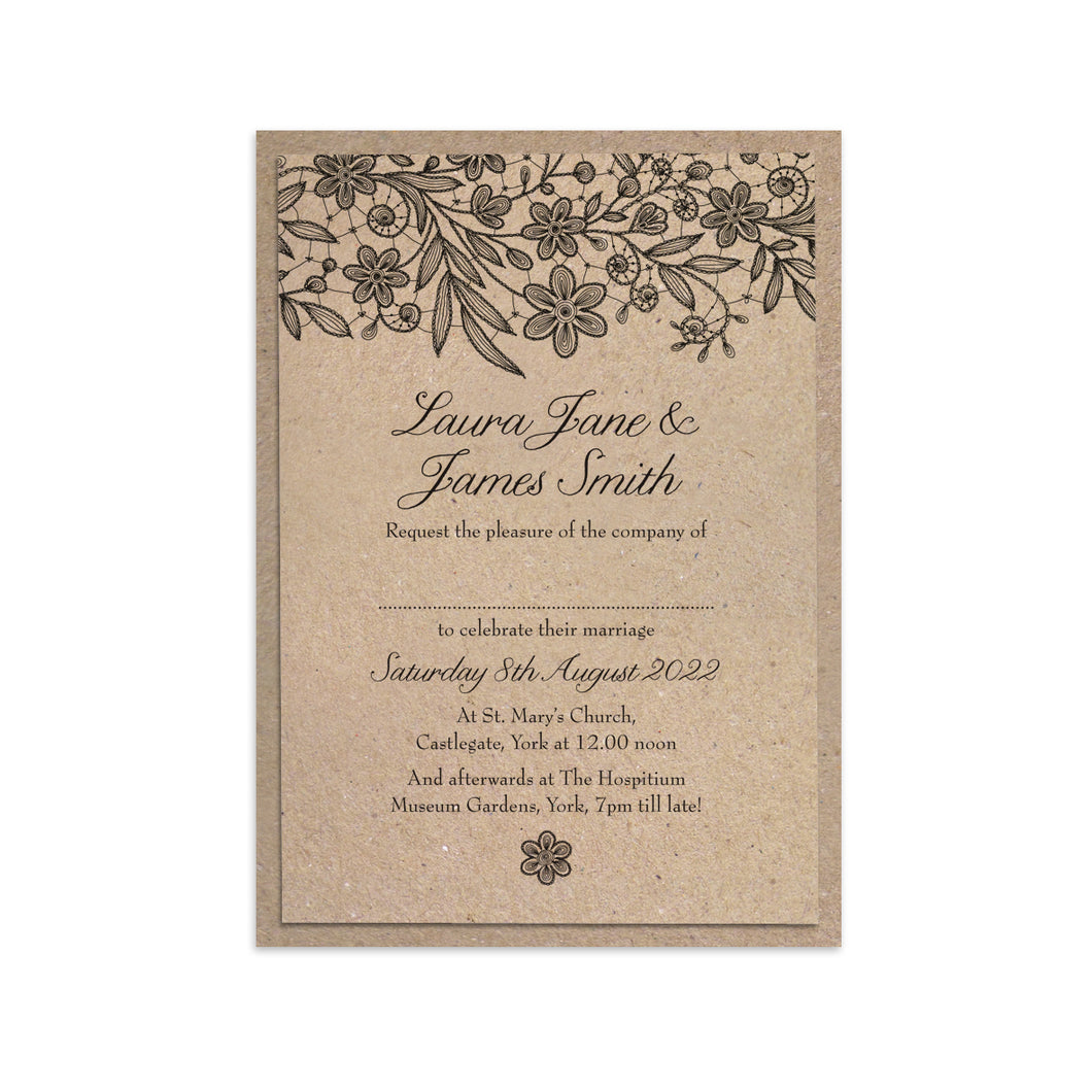 Kraft Lace Wedding Invitations, Black Lace Invitation, Kraft Invite, Rustic Wedding Invitation, Wedding Lace, Recycled Invite, 10 Pack