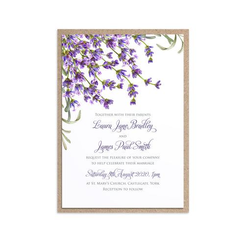 Lavender Wedding Invitations, Rustic Wedding, Rosemary Herb Invitation, Purple Wedding, Rustic Wedding, Lilac Wedding, 10 Pack