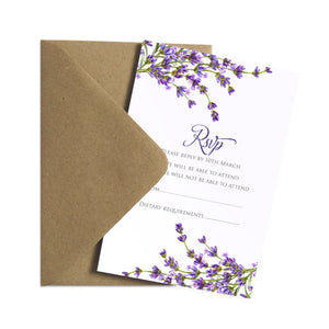 Lavender RSVP Cards, Rustic Wedding, Rosemary Herb Invitation, Purple Wedding, Rustic Wedding, Lilac Wedding, 10 Pack