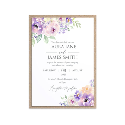 Lilac and Blush Wedding Invitations, Purple Wedding, Lilac Wedding, Blush, 10 Pack