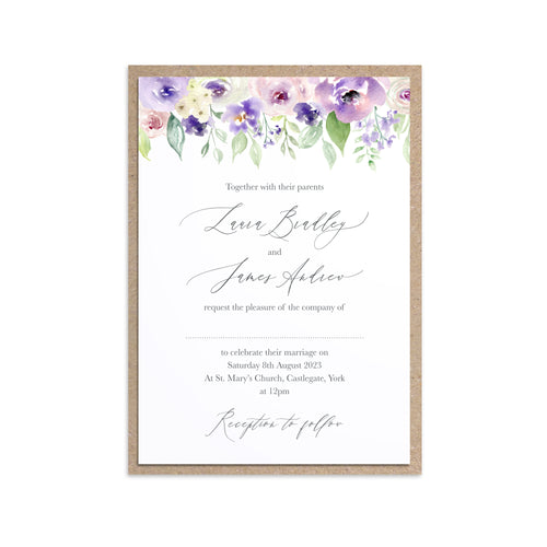 Lilac and Blush Wedding Invitations, Floral Drop, Purple Wedding, Lilac Wedding, Blush, 10 Pack