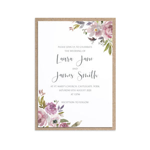 Dusty Rose Wedding Invitations, Mauve, Dusky Pink, Pink Rose, Blush Wedding, 10 Pack