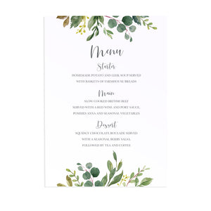 Botanical Garden Wedding Menu, Greenery Wedding, Leaf Wedding, Botanical Wedding, Foliage, 5 Pack