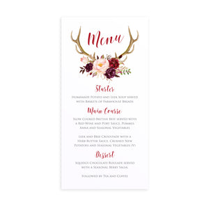 Boho Floral Antler Wedding Menu, Rustic Wedding Invitation, Floral Wedding Invitation, Red Rose, Rustic Country, 5 Pack