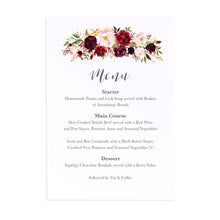 Boho Red Rose Menu, Burgundy Invite, Red Roses, Red Wedding, Boho Floral Wedding, 5 Pack