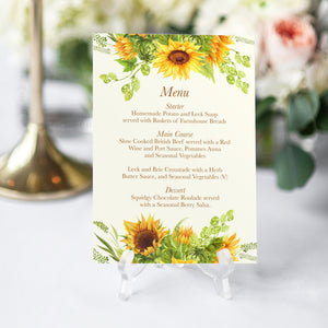 Rustic Sunflower Wedding Menu, Rustic Wedding, Country Wedding, Sunflowers, 5 Pack