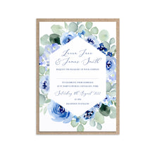 Navy Rose Wedding Invitations, Geometric, Watercolour roses, Navy Wedding, Blue Wedding, 10 Pack