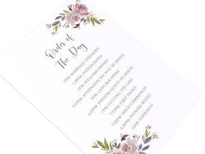 Dusty Rose Order of The Day Postcards, Mauve, Dusky Pink, Pink Rose, Blush Wedding, 10 Pack