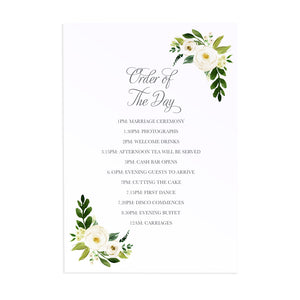 White Wedding Order of The Day Postcards, White Floral Watercolour, White Peony, White Rose Invites, Botanical Wedding, 10 Pack