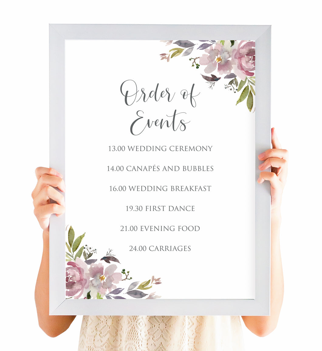 Dusty Rose Order of Events Poster, Welcome Sign, Mauve, Dusky Pink, Pink Rose, Blush Wedding