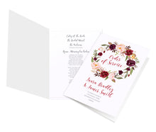 Boho Floral Antler Order of Service Booklets, Rustic Wedding Invitation, Floral Wedding Invitation, Red Rose, Rustic Country, 10 Pack