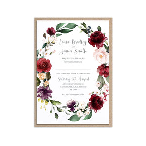 Red and Gold Wedding Invitations, Oval Wreath, Ruby Red, Burgundy, Blush, Red Floral, 10 Pack