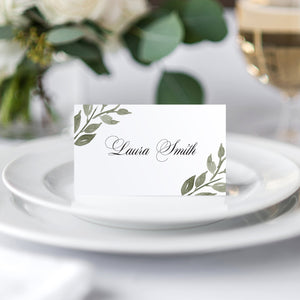 Elegant Geometric Place Cards, Seating Cards, Place Settings, Greenery Wedding, Leaf Wedding, Foliage, 20 Pack