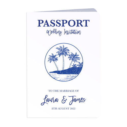 Palm Tree Passport Wedding Invitations, Boarding Pass Invite, Wedding Abroad, Destination Wedding, Travel Wedding, Plane Ticket Invite, 10 Pack