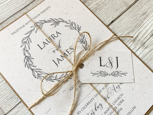 Rustic Forest Wedding Invitations, Rustic Wedding, Eco Wedding, Barn Wedding, 10 Pack