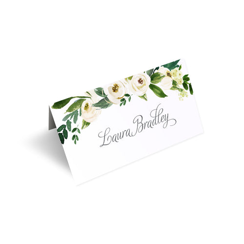 White Wedding Place Cards, White Floral Watercolour, White Peony, White Rose Invites, Botanical Wedding, 20 Pack