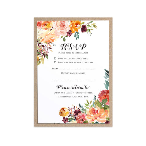 Paprika RSVP Cards, Orange Floral Wedding Invitation, Autumn Wedding, Fall Wedding, 10 Pack