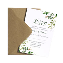 Green Leaf RSVP Cards, Watercolour Foliage, Greenery, Eucalyptus, Green Wreath, Botanical Wedding, 10 Pack