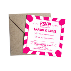 Carnival Wedding RSVP Cards, Circus Wedding, Colourful Wedding, 10 Pack