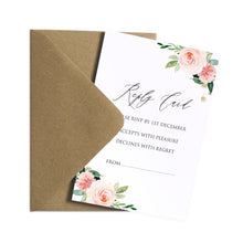 Spring Blush RSVP Cards, Blush Wedding, Pink Flowers, Blush Ivory, Botanical, Modern Invitations, 10 Pack