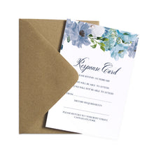 Dusky Blue Floral RSVP Cards, Reply Cards, Blue Floral, Blue Wedding, Navy, Baby Blue, 10 Pack