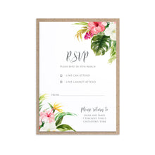 Tropical Floral RSVP Cards, Beach Wedding, Tropical Wedding, 10 Pack