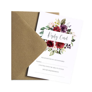 Red and Gold RSVP Cards, Ruby Red, Burgundy, Blush, Red Floral, 10 Pack