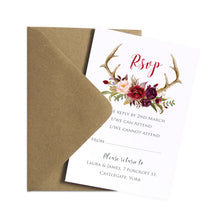 Boho Floral Antler RSVP Cards, Rustic Wedding Invitation, Floral Wedding Invitation, Red Rose, Rustic Country, 10 Pack