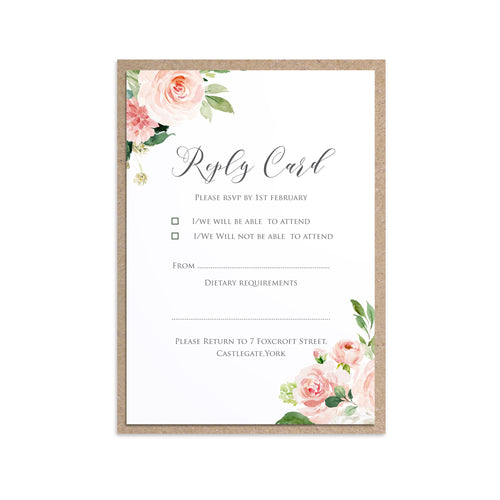 Blush and Gold RSVP Cards, Pink Watercolour flowers, Blush Wedding, 10 Pack