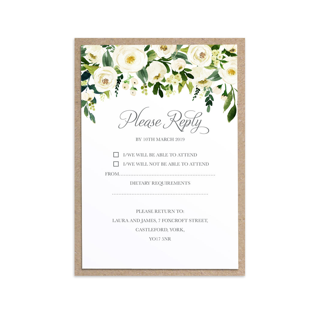 White Wedding RSVP Cards, White Floral Watercolour, White Peony, White Rose Invites, Botanical Wedding, 10 Pack